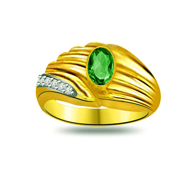 Wrap of Emerald Trendy Diamond & Emerald rings SDR1094 -Diamond & Emerald