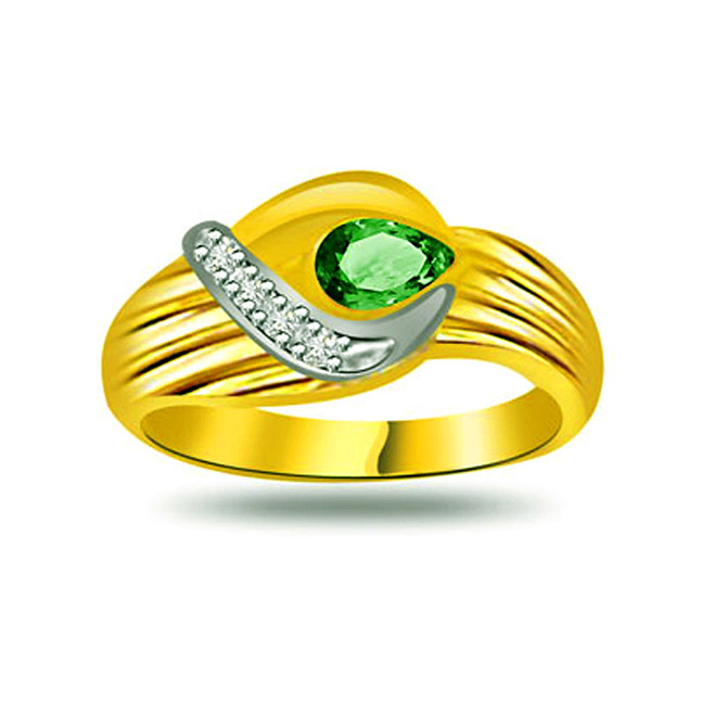 Precious Royal Emerald Classic Diamond & Emerald rings SDR1095 -Diamond & Emerald
