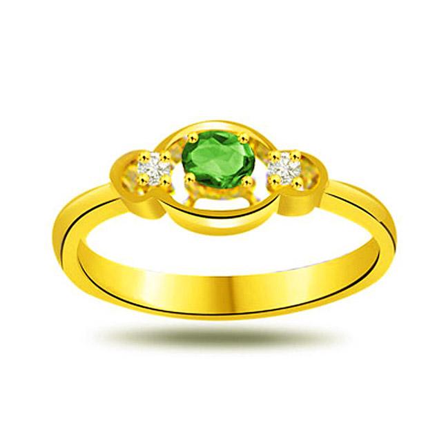 Loved One Diamond & Emerald rings in 18kt Gold -Diamond & Emerald