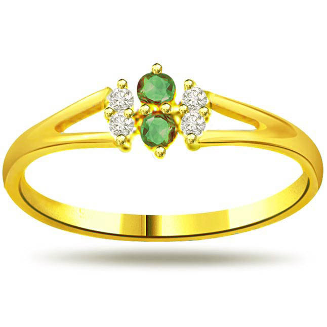 Glitterings Greenery Trendy Diamond & Emerald rings -Diamond & Emerald