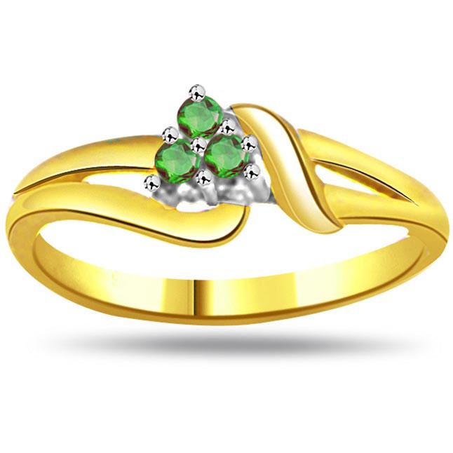 Princess Pretty Round Emerald Gold rings SDR1100 -Diamond & Emerald