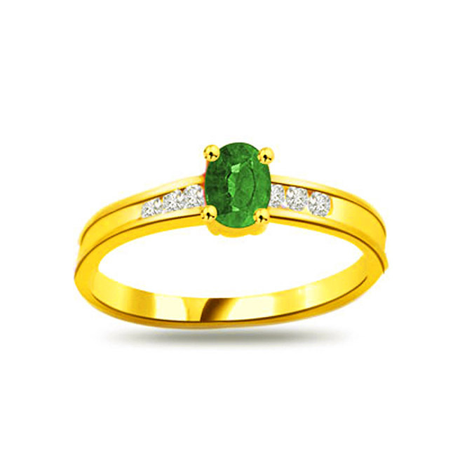 Green Star on Finger 0.12ct Diamond & Emerald Gold rings SDR1103 -Diamond & Emerald