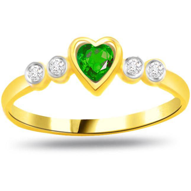 Green Heart Diamond & Emerald Heart rings SDR1106