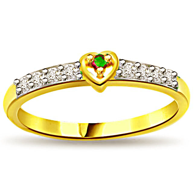 Sparkling Heartthrob Diamond & Emerald Heart rings SDR1107