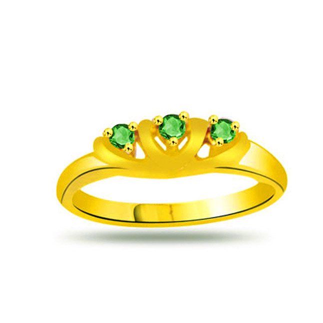 Green Dream Emerald Gold rings SDR1109 -Diamond & Emerald