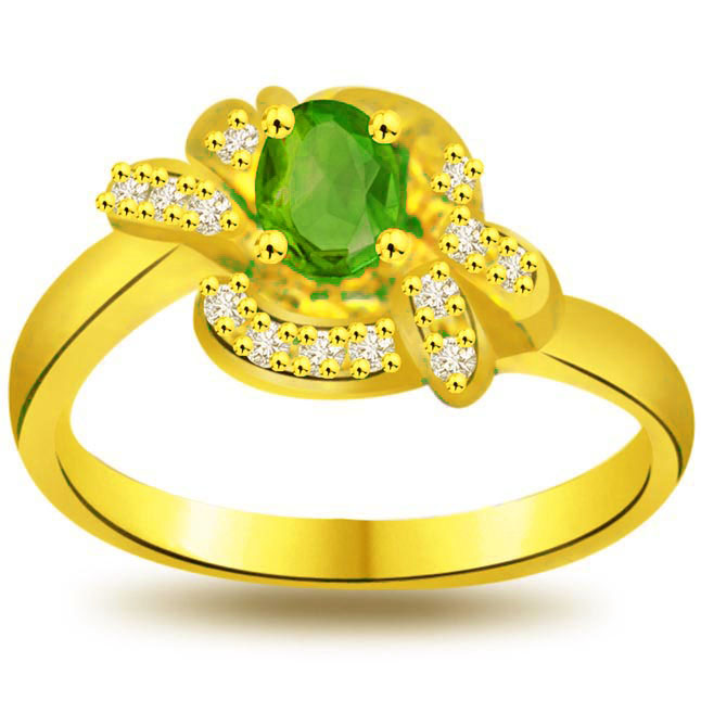 Defining Radiance 0.13ct Diamond & Emerald rings SDR1110 -Diamond & Emerald