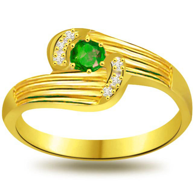 Drop of Desire Classic Diamond & Emerald rings -Diamond & Emerald