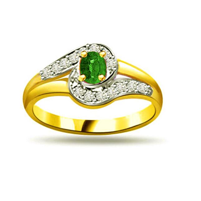 Blushing Bride 0.15ct Diamond & Emerald rings SDR1115 -Diamond & Emerald