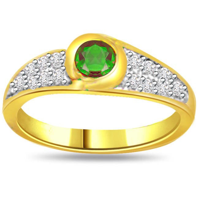 Unique Perfection 0.21ct Diamond & Emerald rings SDR1116 -Diamond & Emerald