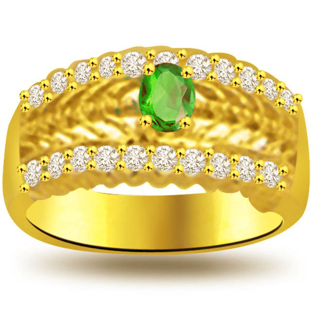 Dazzle Green 0.30ct Diamond & Emerald rings SDR1119 -Diamond & Emerald