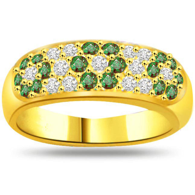Green Flower's in Finger 0.26ct Diamond & Emerald rings SDR1121 -Diamond & Emerald