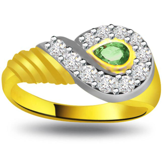Glorious Sunshine 0.11ct Diamond & Emerald rings SDR1122 -Diamond & Emerald