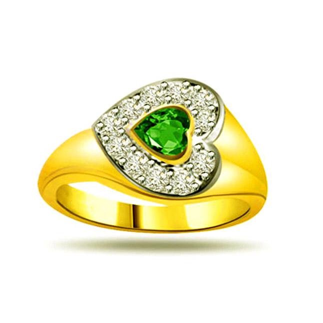 Shining Stars 0.16ct Diamond & Emerald rings SDR1124