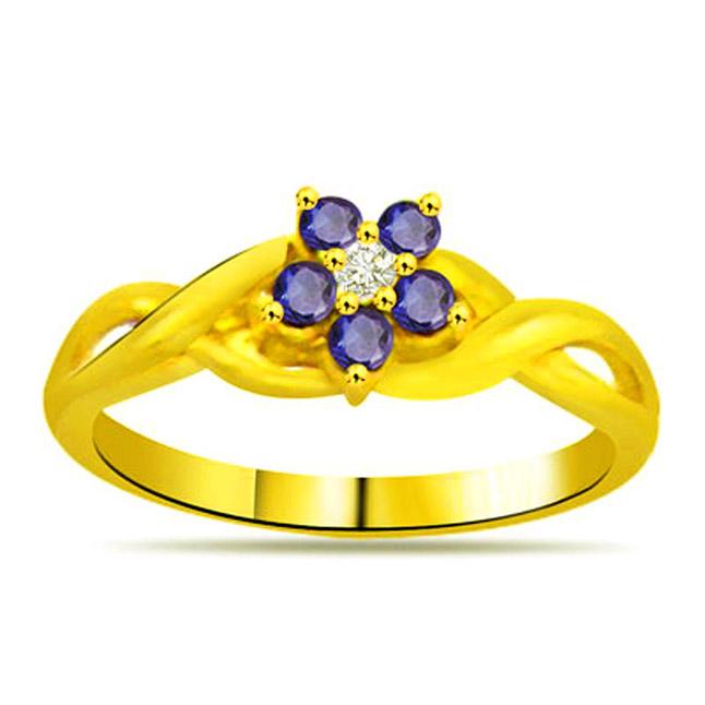 Blue Flower Classic Diamond & Sapphire rings SDR1127