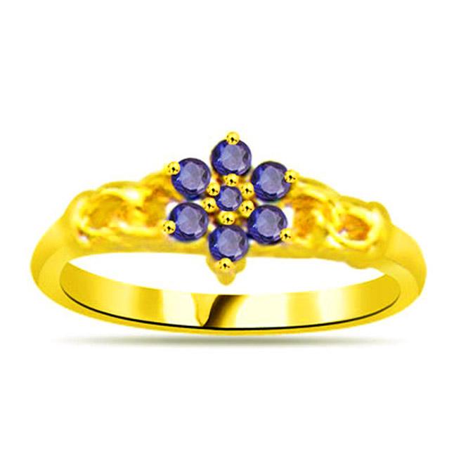 Blue Flower in Ocean Sapphire Gold rings SDR1128