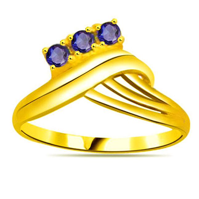 Round Sapphire Gold rings SDR1137