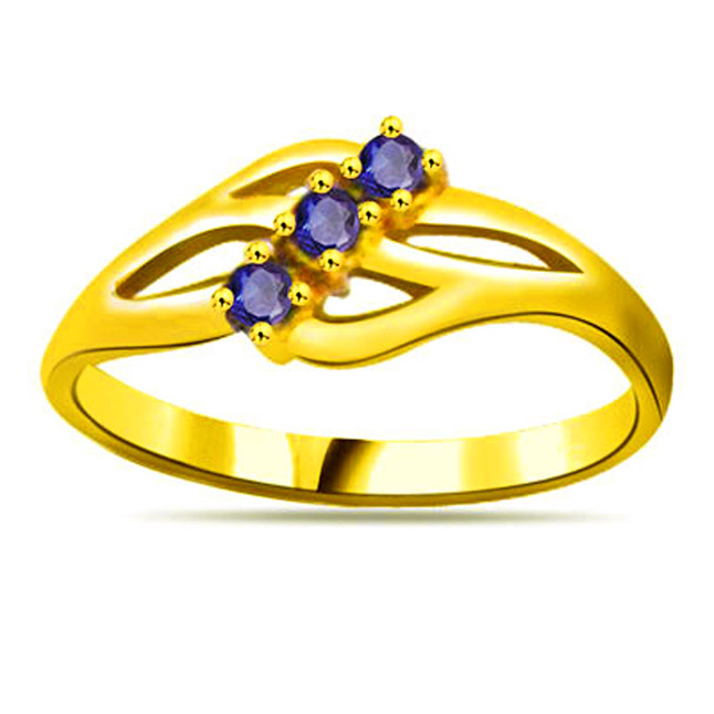 Round Sapphire Gold rings SDR1138