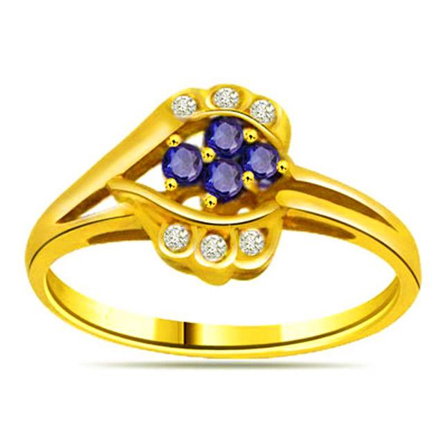 Flower Diamond & Sapphire Gold rings SDR1139