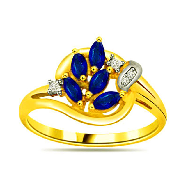 Classic Diamond & Sapphire Gold rings SDR1140