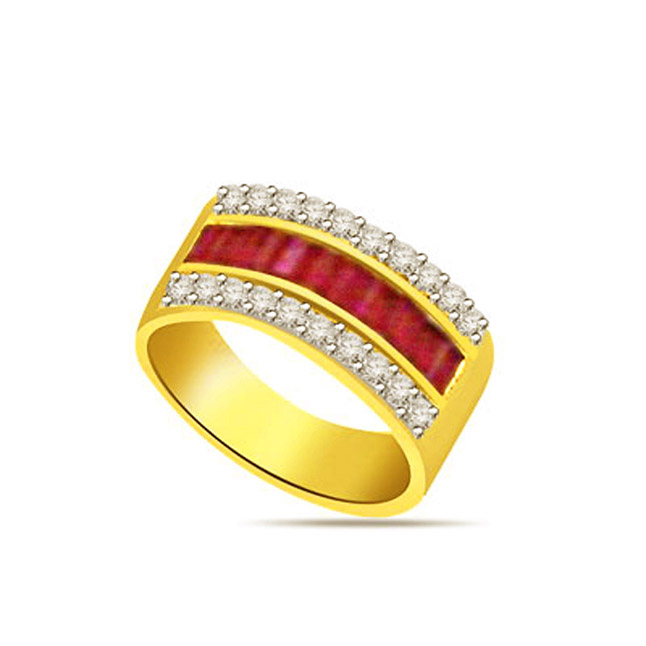 0.25ct Diamond & Ruby Gold rings SDR1147