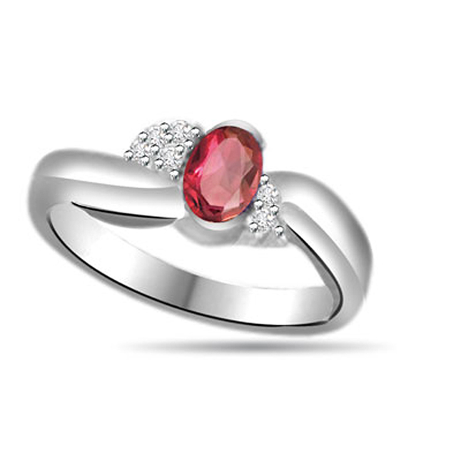 Shining Star 0.18ct Diamond & Ruby Gold rings SDR1153