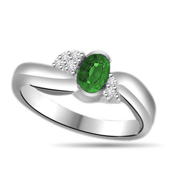 Star Splash 0.18ct Diamond & Emerald Gold rings SDR1155 -Diamond & Emerald