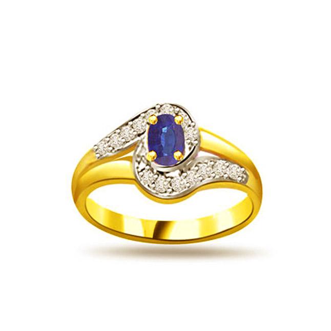 Shimmerings Stars 0.15ct Diamond & Sapphire Gold rings SDR1156