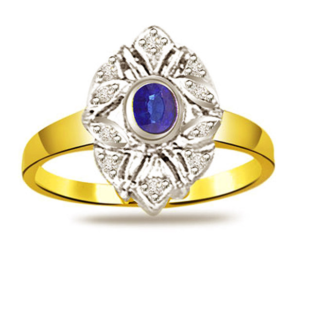 Two -Tone Diamond & Sapphire Gold rings SDR1160
