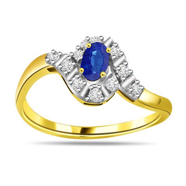 0.22ct Diamond & Sapphire Gold rings SDR1164