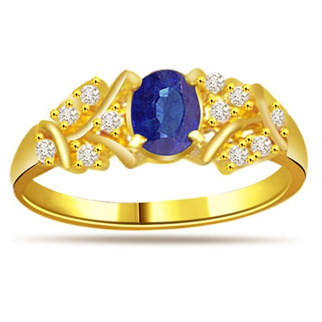 0.22ct Diamond & Sapphire Gold rings SDR1167