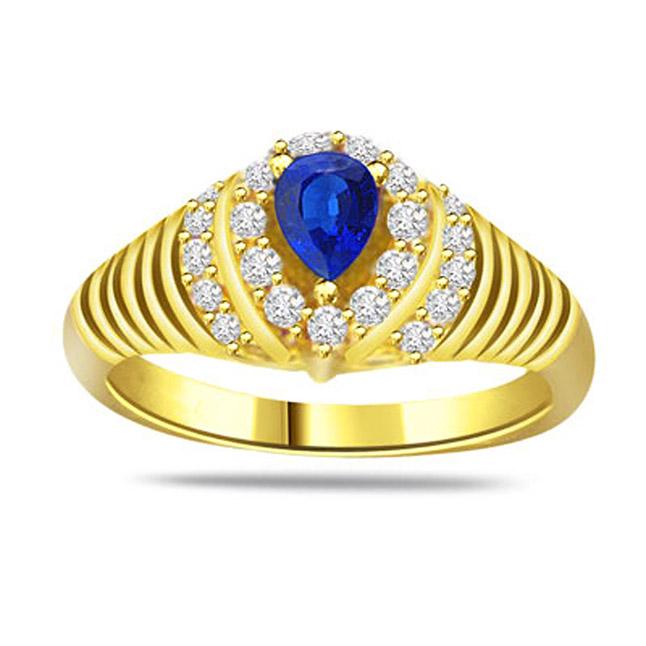 0.21ct Diamond & Sapphire Gold rings SDR1168