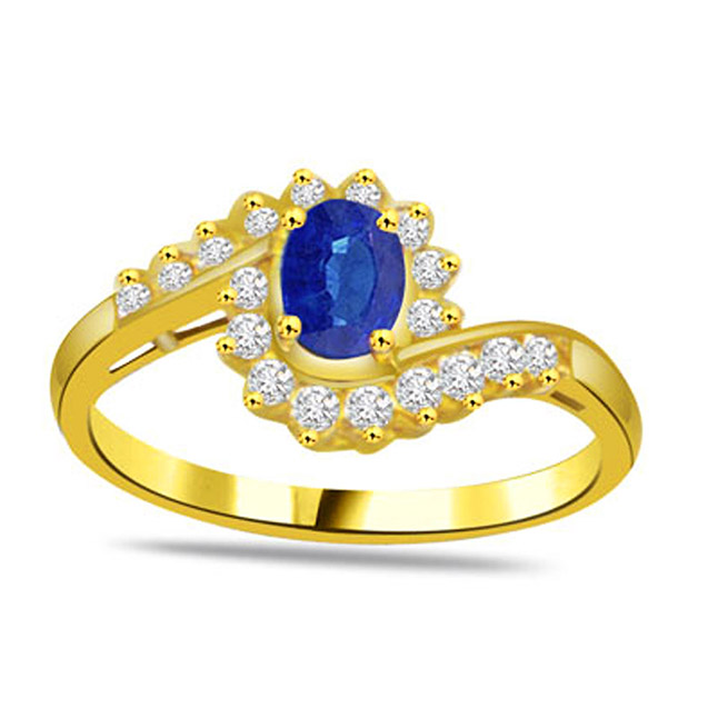 0.20ct Diamond & Sapphire Gold rings SDR1169