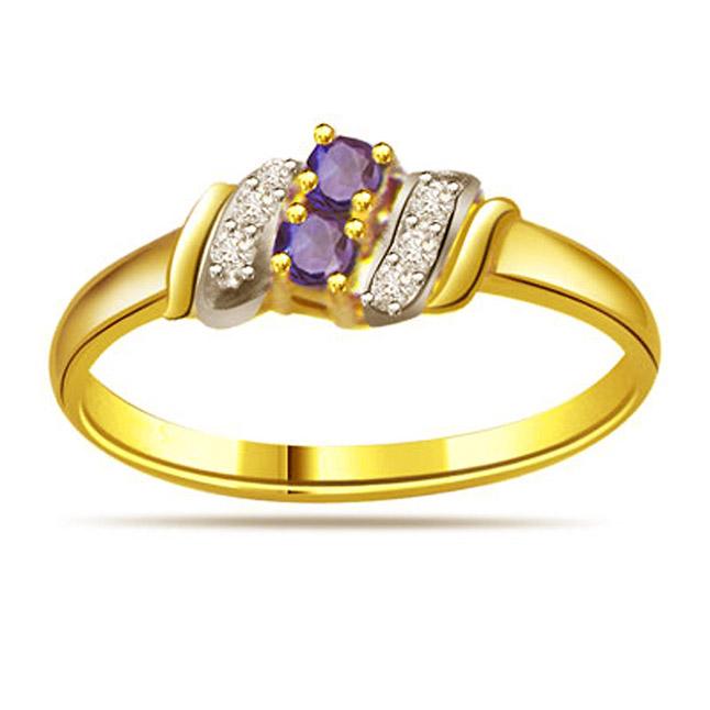 0.12ct Diamond & Sapphire Gold rings SDR1170