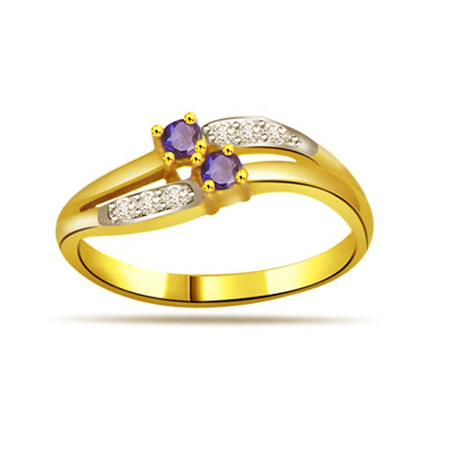 Classic Diamond & Sapphire Gold rings SDR1171