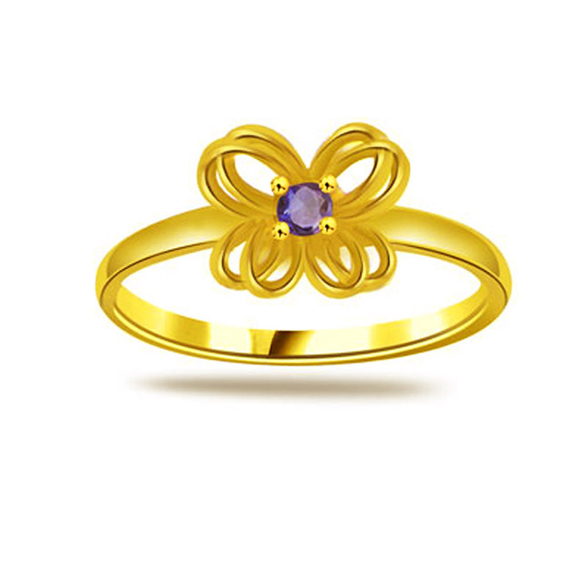 Round Sapphire Gold rings SDR1173