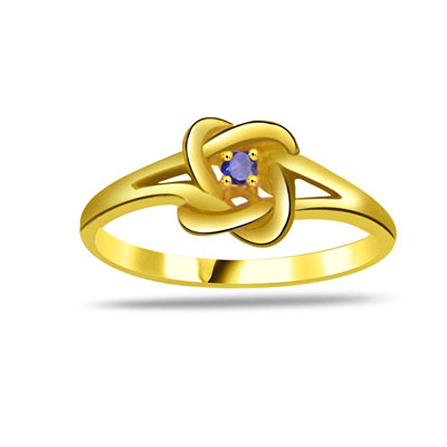 Round Sapphire Gold rings SDR1174