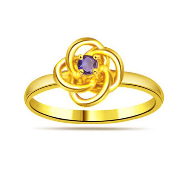 Flower Shape Sapphire Gold rings SDR1175