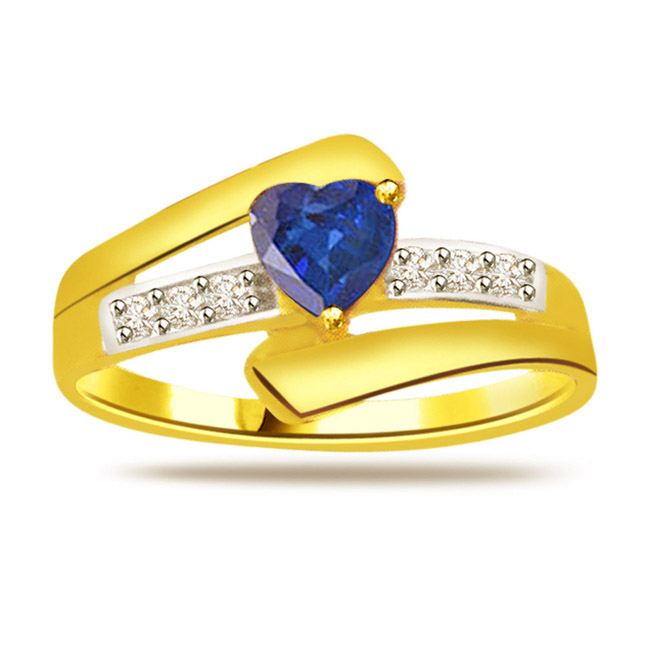 Aqua Marine Heart 0.18ct Diamond & Heart Sapphire Gold rings