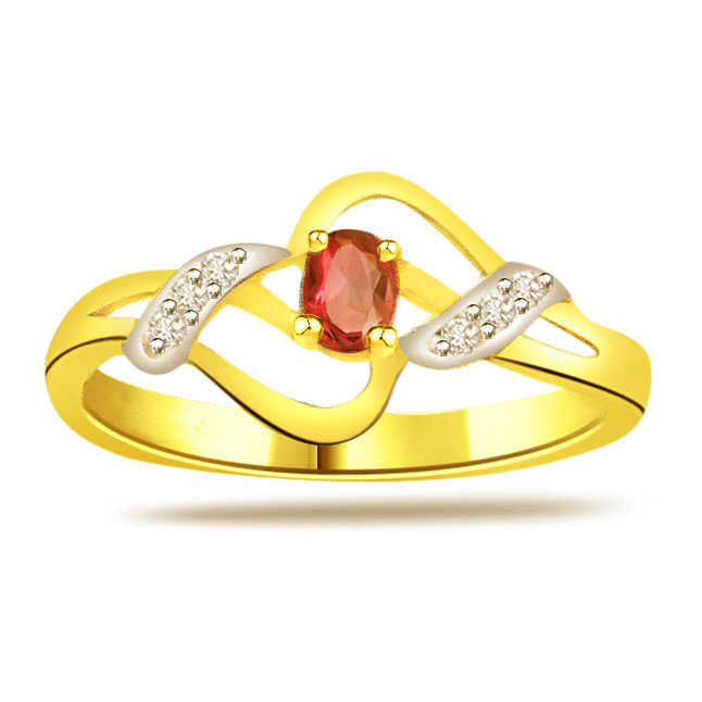 0.18ct Diamond & Ruby Gold rings SDR1211