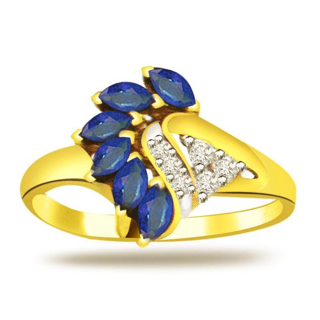 Classic Diamond & Sapphire Gold rings SDR1217