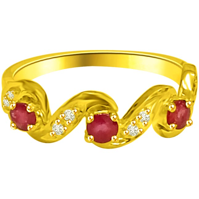 Classic Diamond & Ruby Gold rings SDR1221