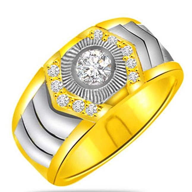 Two -Tone Diamond Gold rings SDR1237 -White Yellow Gold rings