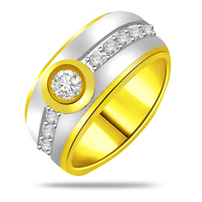 Two -Tone Diamond Gold rings SDR1239