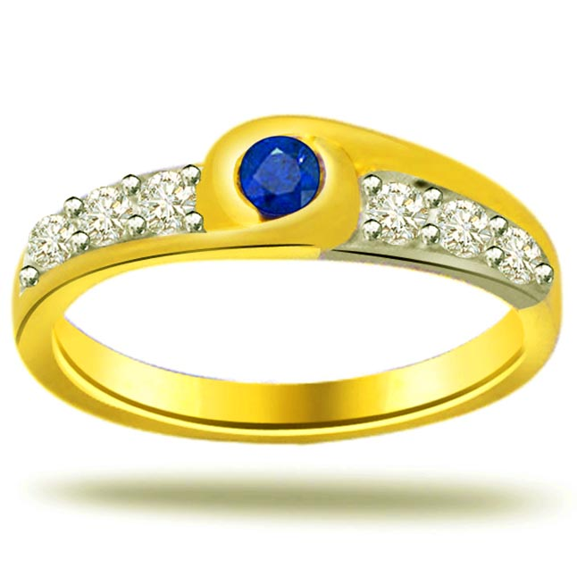 0.09 cts Diamond & Round Sapphire rings in 18K Gold