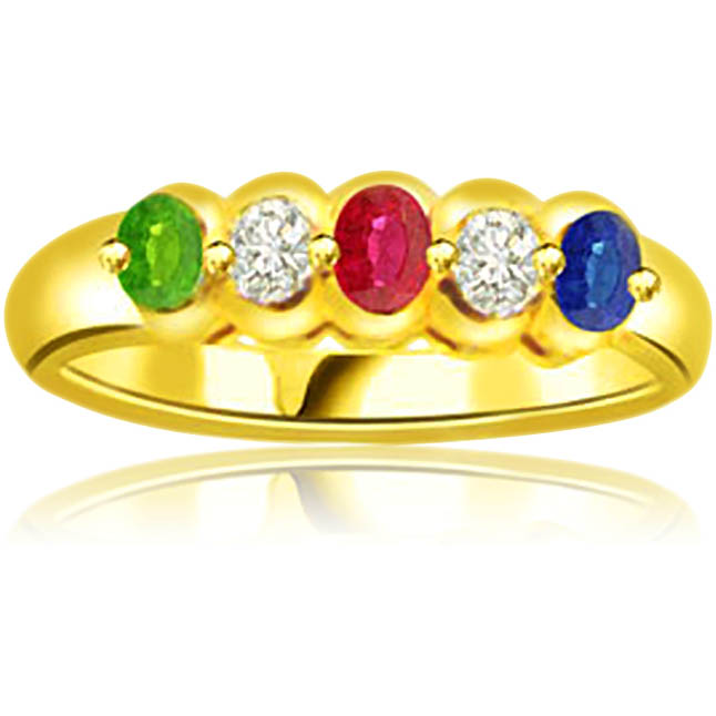 0.06 cts Diamond Ruby Emerald & Sapphire Gold rings -Gemstone & Diamond