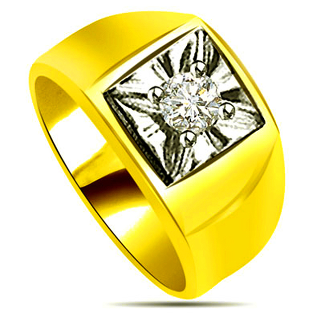 0.35 cts Two Tone Solitaire Diamond rings -Two Tone Solitaire