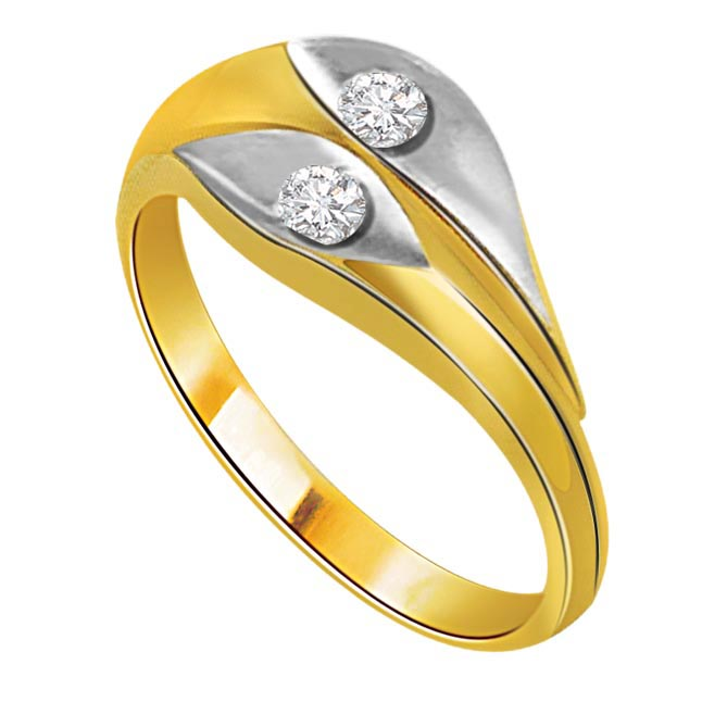 0.06 cts Two Diamond Two Tone rings -White Yellow Gold rings
