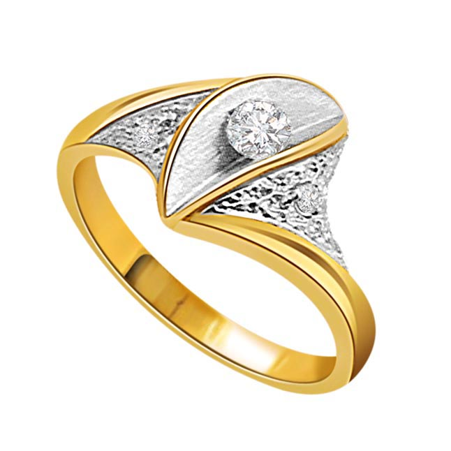 0.07 cts Solitaire Diamond Two Tone rings