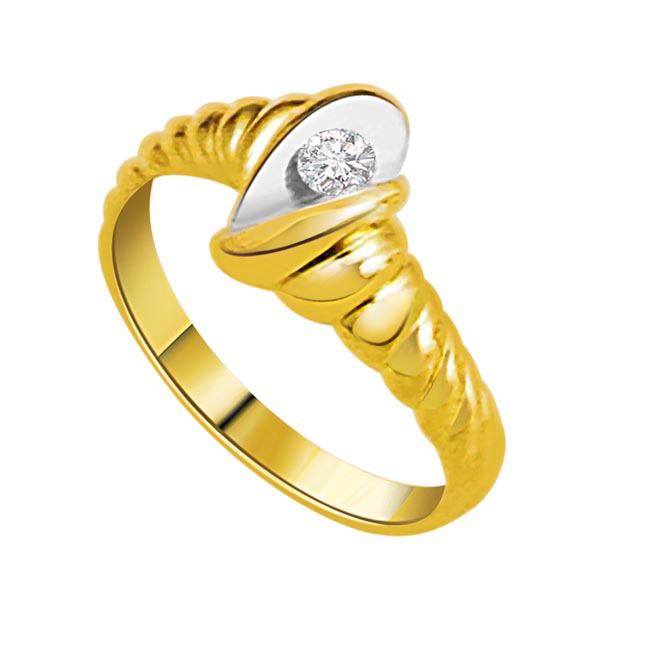 0.10 cts Diamond Solitaire Two Tone rings