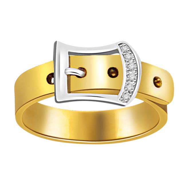 Gold Belt With Diamond Buckle Two Tone rings -White Yellow Gold rings
